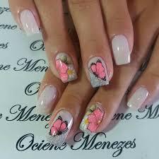 bianco glitter fiore farfalla unghie monocolore e nail art