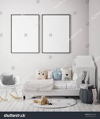 mock poster frame children bedroom scandinavian stock illustration