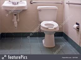 interior architecture handicapped bathroom with bars stock