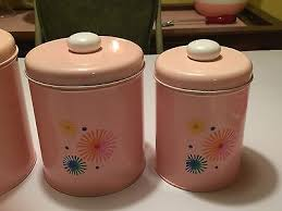 pink canisters kitchen vintage 50s 60s pink atomic kitchen metal canisters set of 4