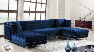 Furniture Sectional Sofas Moda Blue Sectional Sofa 631 Meridian Furniture Sectional Sofas At