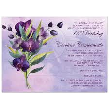 Purple Orchids 75th Birthday Party Invitation Purple Orchids Green Foliage