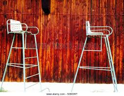 umpire chairs at tennis club stock image