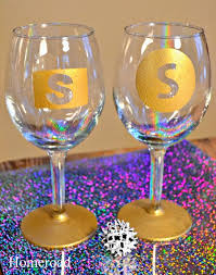diy monogram wine glasses homeroad monogrammed new year s glasses