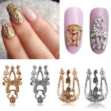 10pcs 3d hollow nail art alloy tips decoration jewelry glitter