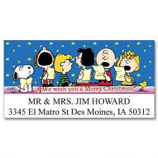 peanuts christmas peanuts christmas deluxe return address labels colorful images