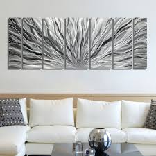 sale large multi panel metal wall art in all silver zoom