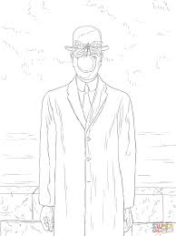 son of man by rene magritte coloring page free printable