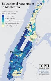 New York Map Districts by Manhattan Areas By Education Level Business Insider