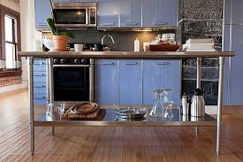 metal island kitchen modern light blue loft kitchen in los angeles