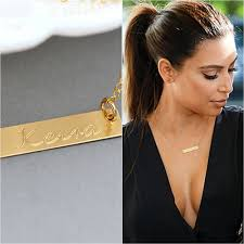 nameplate necklace customized name bar necklace personalized name plate