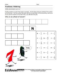 fractions ordering unlike denominators puzzle edboost