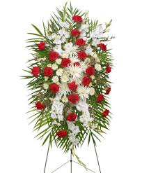 greenville florist graceful white standing spray of funeral flowers in greenville