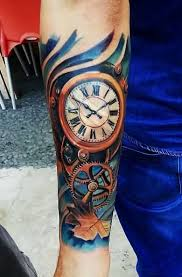 tattoo pictures color 28 awesome clock sleeve tattoo