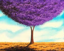 purple tree art print trees in art bright home decor modern