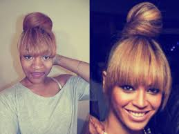 black hairstyles with bun and bangs beyonce evelyn lozada inspired bun w bangs youtube