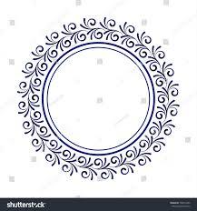 blue ornamental frame decorative circle stock vector