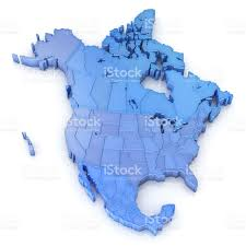 north america map with usa canada and mexico stock photo 180717090