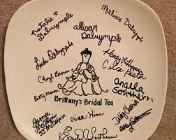 bridal shower plate to sign wedding plate etsy