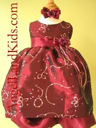 beautiful affordable burgundy baby girls christmas dress