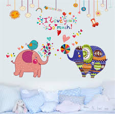 removable vinyl lovely elephant couple diy wall stickers home
