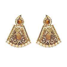 dangler earrings kriaa brown austrian and pearl dangler earrings jewelmaze