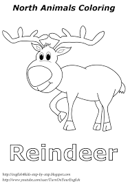reindeer christmas coloring north animal coloring esl