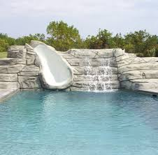 swimming pool slide waterfall concrete aquacrete