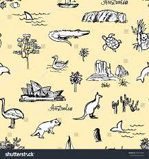 hand drawn pattern australian animals places stock vector