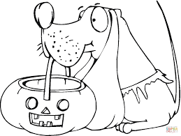 dog holds pumpkin basket coloring page free printable coloring pages