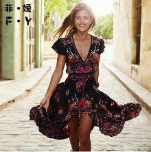 tripleclicks com print party women summer dress