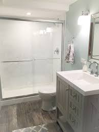 Bathroom Ideas For Small Spaces On A Budget Bathroom With Benjamin Moore Chelsea Gray Vanity And B W Artwork