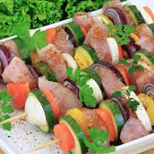 composition cuisine shish kebab delicious cuisine with zucchini onions carrots
