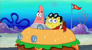 Spongebob Krabby Patty Meme - image spongebob and patrick driving krabby patty car jpg