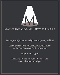 Cocktail Party Fundraiser - fundraiser party invitation malverne community theatre