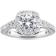 cushion halo engagement rings 1 1 2ct cushion halo engagement ring 14k white gold