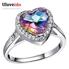 heart fashion rings images Uloveido joyas vintage gifts for women silver jewelry blue rainbow jpg