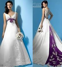purple wedding dress 2015 white fashion sleeveless color accented applique gown
