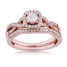 yellow gold wedding sets diamond wedding set in 10 kt pink gold riddle s jewelry