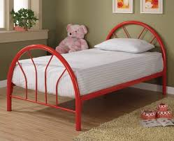 furniture red twin metal bed frame with short base combined by