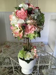 Home Decor Flower Arrangements Flower Topiary Shabby Chic Flowers Decor Hydrangea