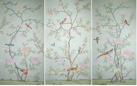 griffin and wong hand painted silk wallpaper panels 2 flickr