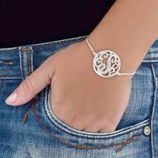 silver monogram bracelet silver circle monogram bracelet mynamenecklace