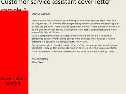 customer services assistant cover letter customer service