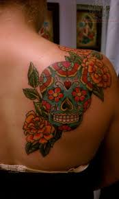 sugar skull back shoulder tattoos