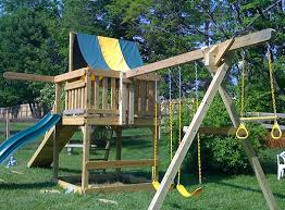Backyard Play Structure by Installing Swing Sets And Play Structures Mr Handyman