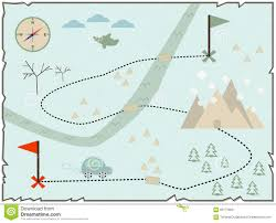 Treasure Island Map Illustration Of The Winter Map To Find Treasure Stock Vector