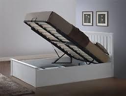 phoenix wood double 4ft6 135cm white gas lift ottoman storage bed