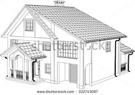 drawing home 3d render building vector contours houses stock vector 443321215
