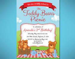 teddy bear picnic birthday invitation etsy teddy bear picnic baby